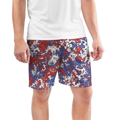Мужские шорты 3D спортивные  Фото 03, Бело-сине-красный камуфляж