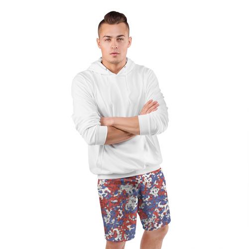 Мужские шорты 3D спортивные  Фото 05, Бело-сине-красный камуфляж