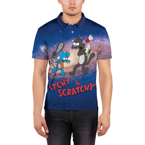 Мужская рубашка поло 3D  Фото 03, Itchy & Scratchy space