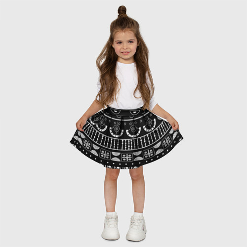 Детская юбка-солнце 3D  Фото 03, Black and White ethnic