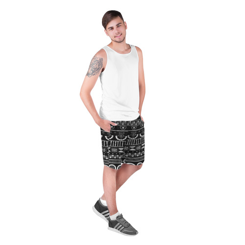 Мужские шорты 3D  Фото 03, Black and White ethnic