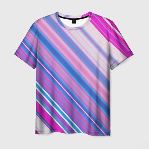 Мужская футболка 3D  Фото 01, Фиолетовые полоски