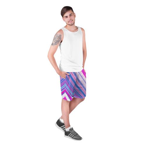 Мужские шорты 3D  Фото 03, Фиолетовые полоски