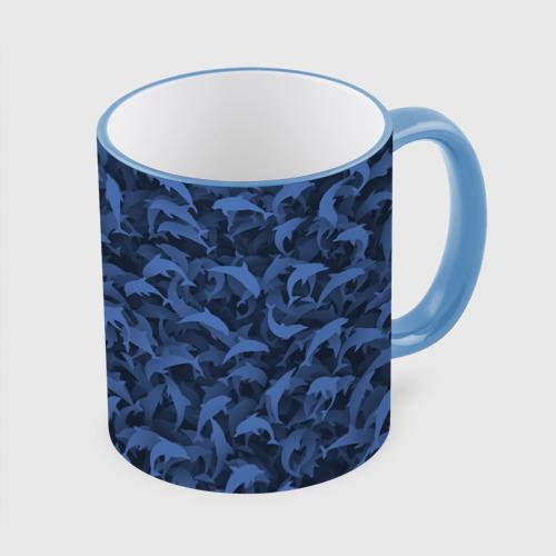 Кружка с полной запечаткой Камуфляж с дельфинами