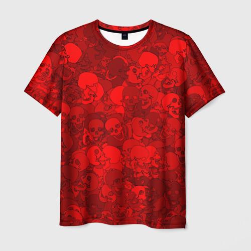 Мужская футболка 3D  Фото 01, Красные черепа