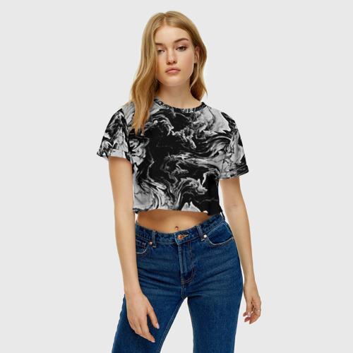 Женская футболка 3D укороченная  Фото 04, vortex gray
