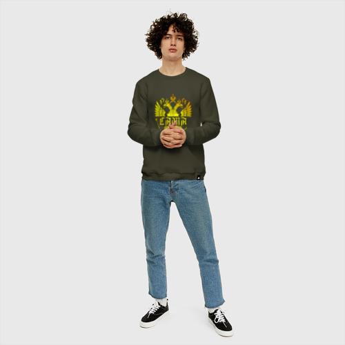 Мужской свитшот хлопок Саша в золотом гербе РФ Фото 01