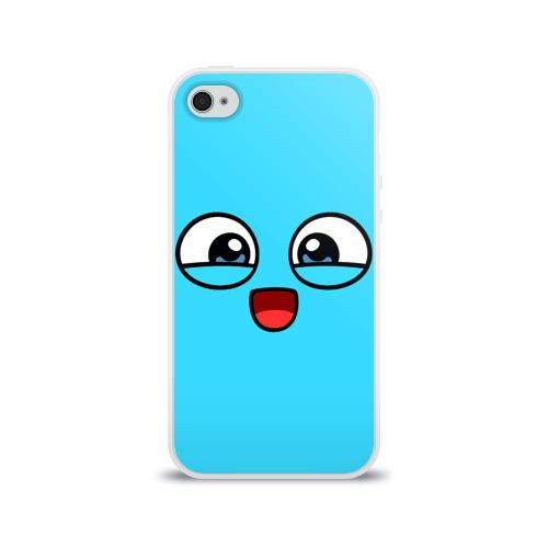 Чехол для Apple iPhone 4/4S силиконовый глянцевый Эмодзи / Смайл (голубой цвет) Фото 01