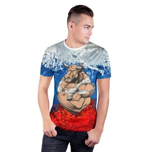 Мужская футболка 3D спортивная  Фото 03, Буйвол