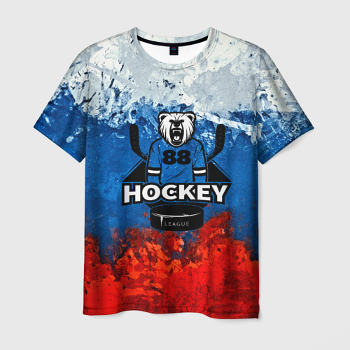 Мужская футболка 3D Медведь Хоккеист