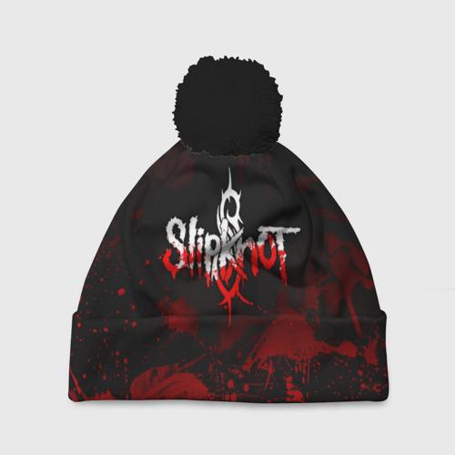 Шапка 3D c помпоном Slipknot пятна