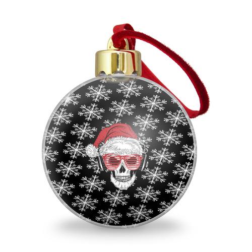 Ёлочный шар с блестками  Фото 01, Santa Skull хипстер