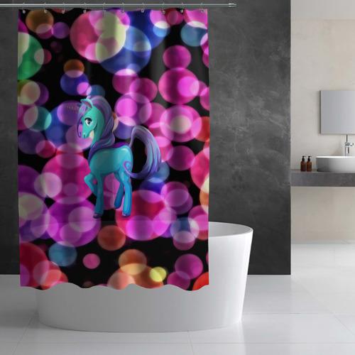 Штора 3D для ванной Милый единорог Фото 01