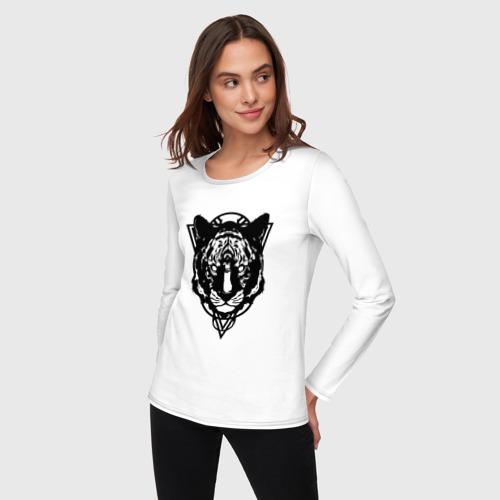 Женский лонгслив хлопок  Фото 03, Черно-белый тигр