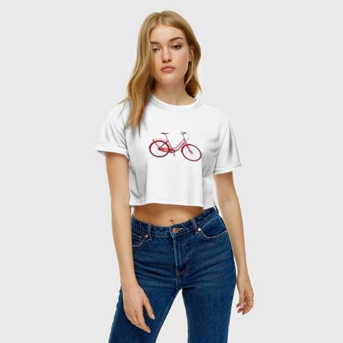 Женская футболка 3D укороченная  Фото 04, Велосипед
