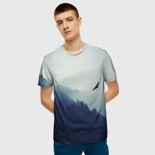 Мужская футболка 3D ОРЁЛ НАД ЛЕСОМ Фото 01