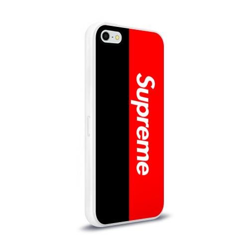 Чехол для Apple iPhone 5/5S силиконовый глянцевый  Фото 02, Supreme Red and Black