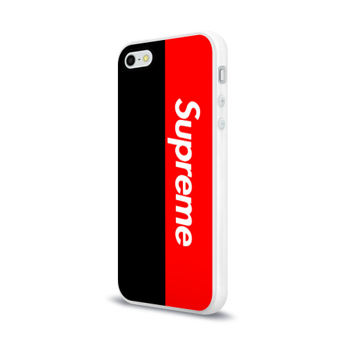 Чехол для Apple iPhone 5/5S силиконовый глянцевый  Фото 03, Supreme Red and Black
