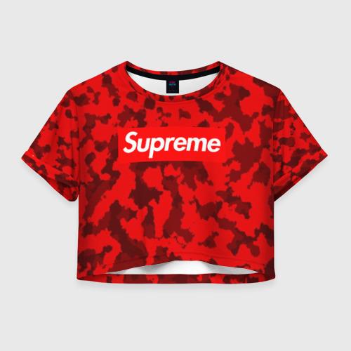 Женская футболка Crop-top 3D Supreme Red military