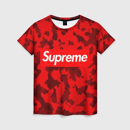 Женская футболка 3D Supreme Red military