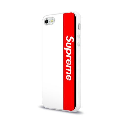 Чехол для Apple iPhone 5/5S силиконовый глянцевый  Фото 03, Supreme Red Black White