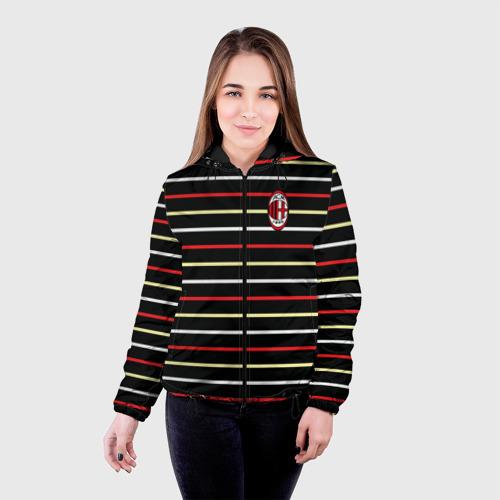 Женская куртка 3D  Фото 03, AC Milan - Stripe black