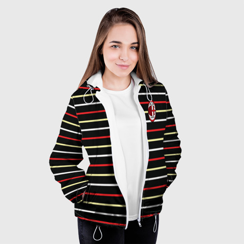 Женская куртка 3D  Фото 04, AC Milan - Stripe black