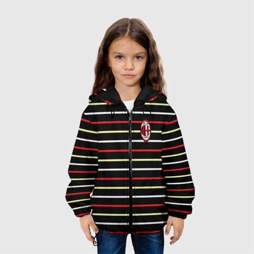 Детская куртка 3D  Фото 04, AC Milan - Stripe black