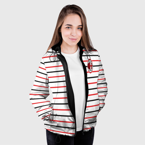 Женская куртка 3D  Фото 04, AC Milan - Stripe white