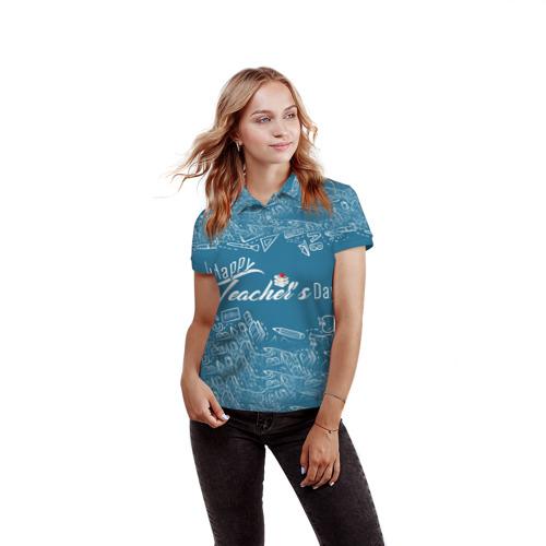 Женская рубашка поло 3D  Фото 03, С днём учителя!