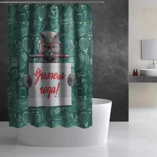 Штора 3D для ванной  Фото 03, Учитель года!