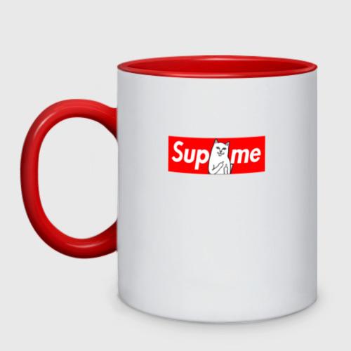 Кружка двухцветная Supreme Ripndip Logo