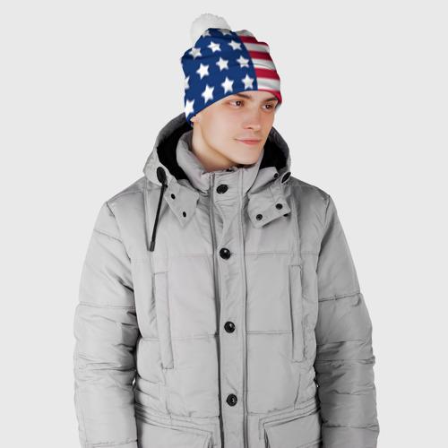 Шапка 3D c помпоном  Фото 02, USA Flag