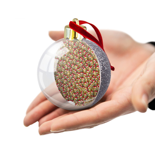 Ёлочный шар с блестками  Фото 03, Новогодние собаки