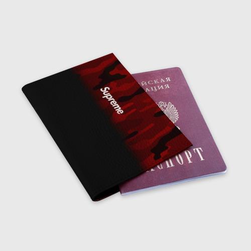 Обложка для паспорта матовая кожа Supreme Military Black Red  Фото 01