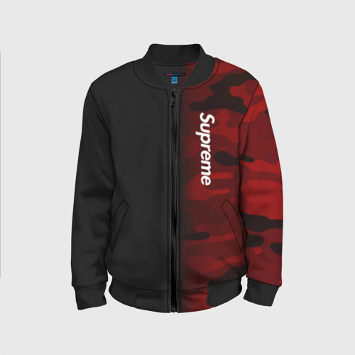 Детский бомбер 3D Supreme Military Black Red