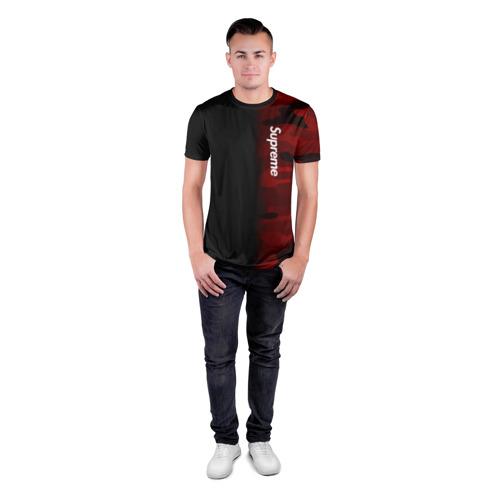 Мужская футболка 3D спортивная Supreme Military Black Red  Фото 01