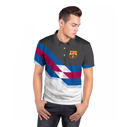 Мужская рубашка поло 3D  Фото 05, FC Barcelona 2018 №1