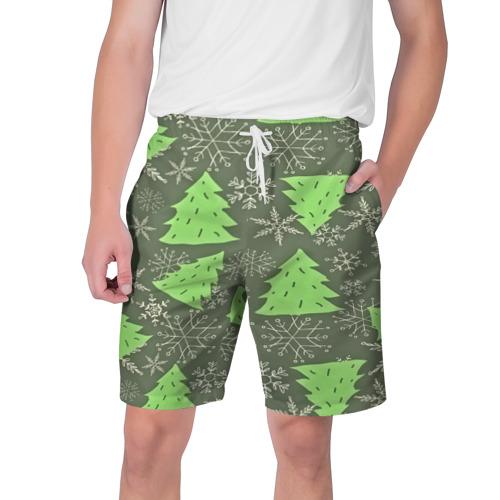 Мужские шорты 3D  Фото 01, Зелёные ёлочки