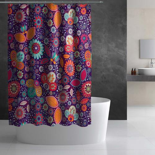 Штора 3D для ванной  Фото 02, Цветочный взрыв