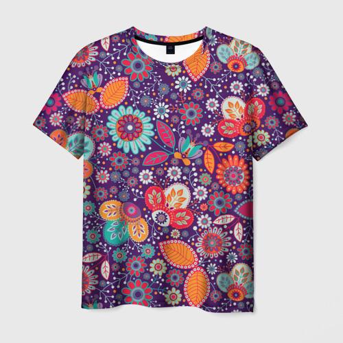 Мужская футболка 3D Цветочный взрыв