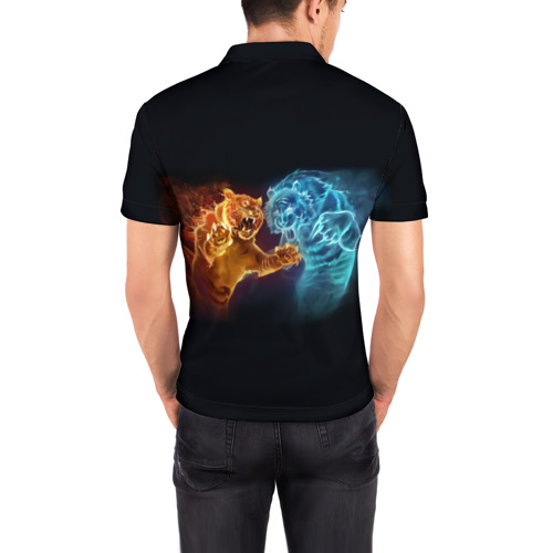 Мужская рубашка поло 3D  Фото 04, Тигры пламя огня