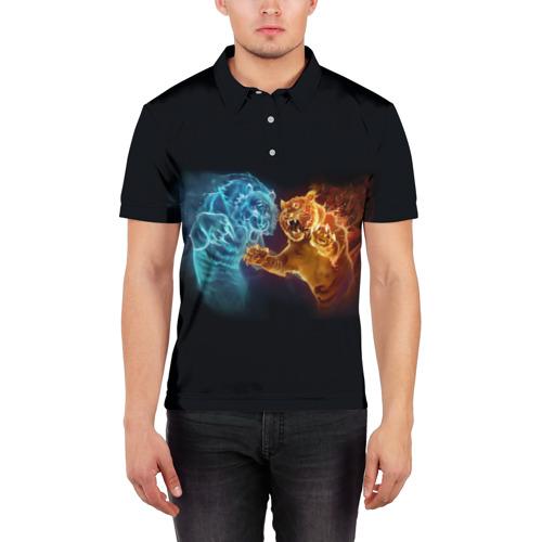 Мужская рубашка поло 3D  Фото 03, Тигры пламя огня