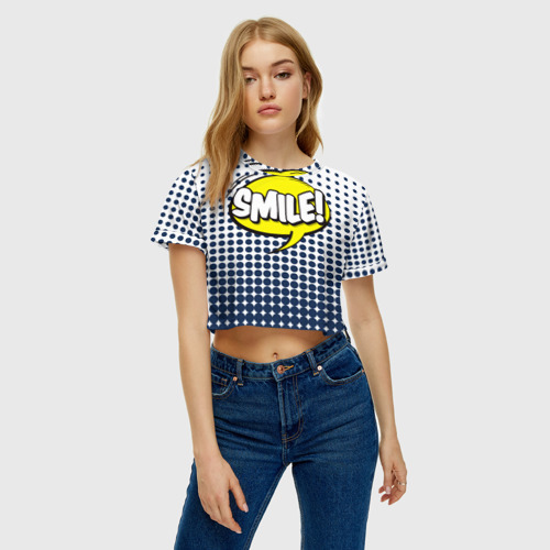 Женская футболка 3D укороченная  Фото 04, Smile!