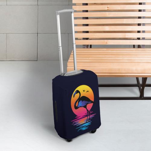 Чехол для чемодана 3D Фламинго дитя заката Фото 01