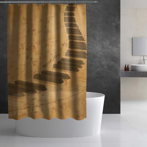 Штора 3D для ванной  Фото 02, Клавиши пианино