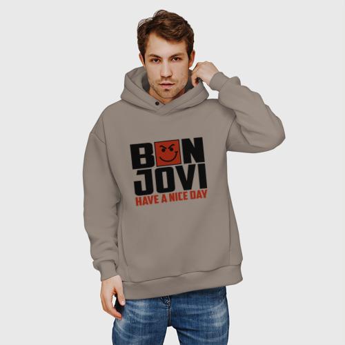 Мужское худи Oversize хлопок Bon Jovi, have a nice day Фото 01