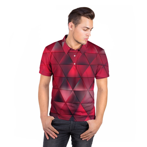 Мужская рубашка поло 3D  Фото 05, Dark Red