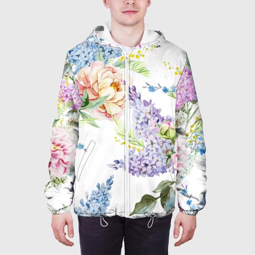 Мужская куртка 3D  Фото 04, Сирень и Пионы