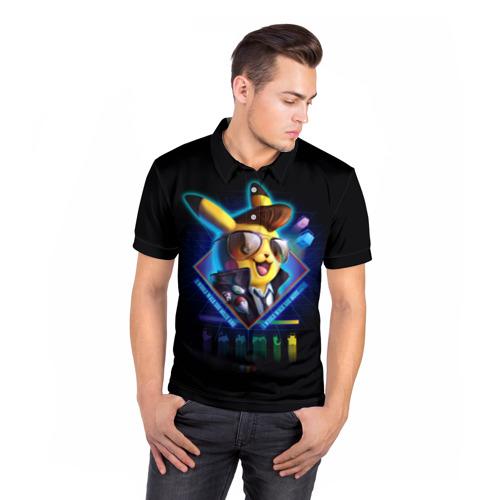 Мужская рубашка поло 3D  Фото 05, Пикачу